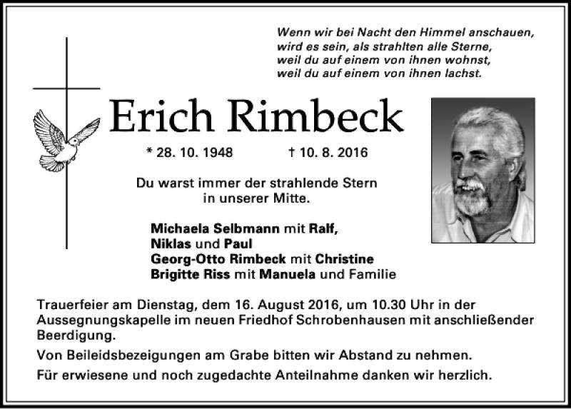 Erich Rimbeck Donaukurier Trauerportal